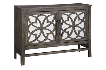 Antique Brown Mirrored Accent Cabinet