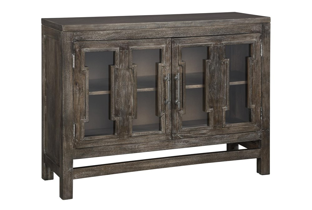 Antique Brown Glass Front Accent Cabinet
