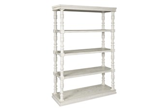 "Tall White Wash Pilar 75"" Bookcase"