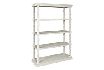 "Tall White Wash Pilar 75"" Bookcase"