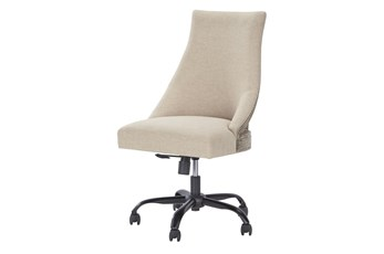 Linen + Wood Swivel Desk Chair