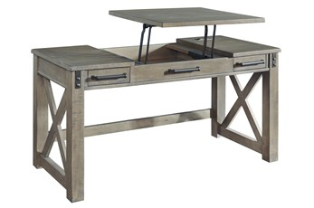 "Riggs Grey Lift-Top 60"" Desk With Usb"