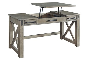 """Riggs Grey Lift-Top 60"""" Desk With Usb"""