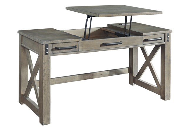 """Riggs Grey Lift-Top 60"""" Desk With Usb - 360"""