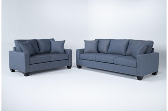 Lorah Denim 2 Piece Living Room Set
