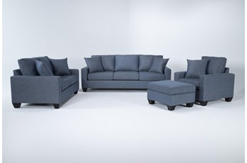 Lorah Denim 4 Piece Living Room Set