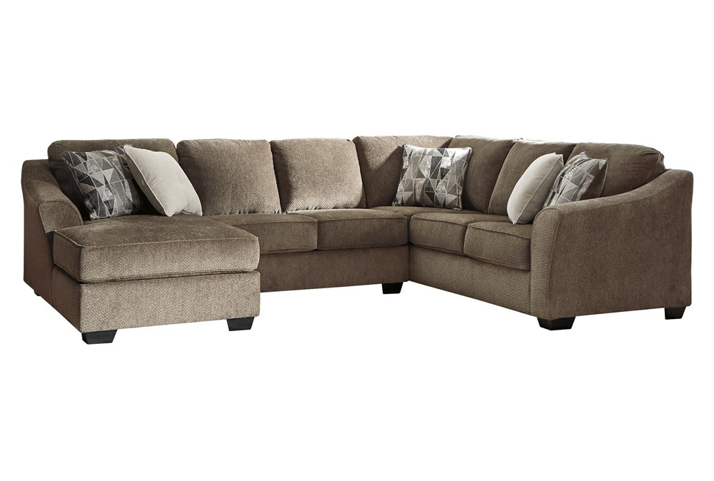"""Graftin Teak 3 Piece 130"""" Sectional With Left Arm Facing Chaise"""