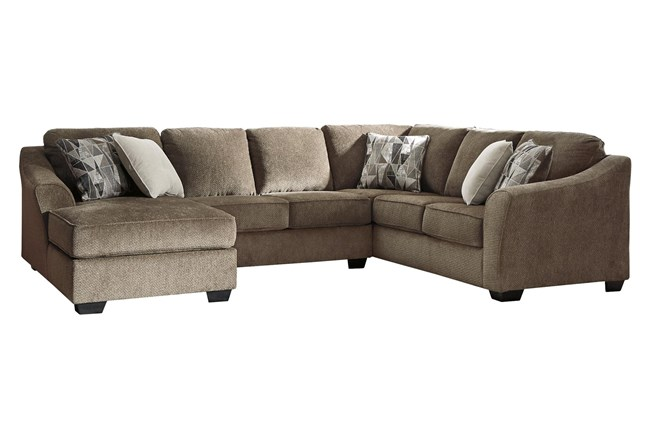 """Graftin Teak 3 Piece 130"""" Sectional With Left Arm Facing Chaise - 360"""