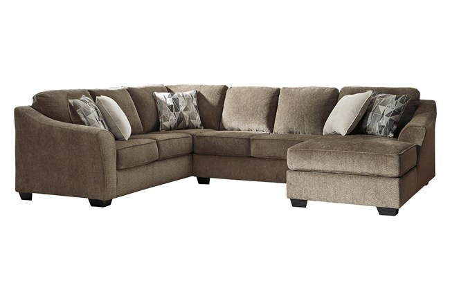 """Graftin Teak 3 Piece 130"""" Sectional With Right Arm Facing Chaise - 360"""