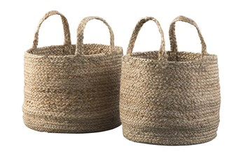 Natural Jute Basket 2 Pc Set