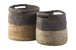 Natural + Black Jute Basket 2 Pc Set
