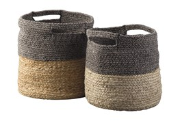 Natural + Black Jute Basket 2 Pc Set