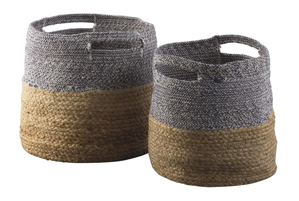 Natural + Blue Jute Basket 2 Pc Set