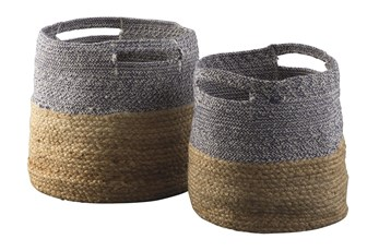 Natural + Blue Jute Basket 2 Pc Set