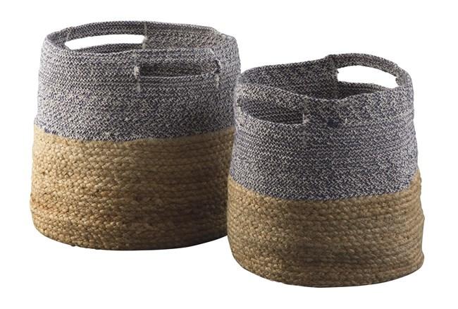 Natural + Blue Jute Basket 2 Pc Set - 360