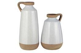 Cream + Light Brown Glazed Ceramic 2 Pc Vase Set