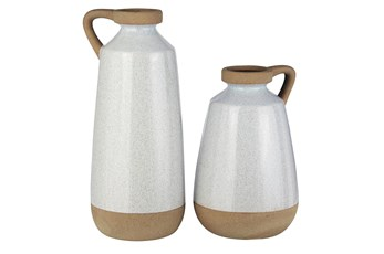 Cream + Light Brown Glazed Ceramic 2 Pc Vase Set