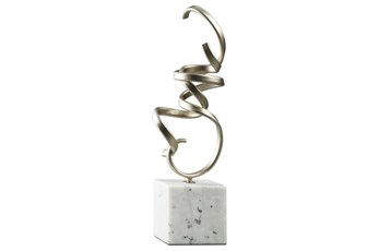 Champagne Metal + Marble Sculpture