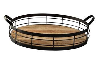 Black + Wood Metal Tray