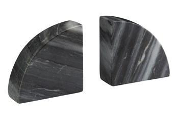 Gray Marble 2 Pc Bookend Set