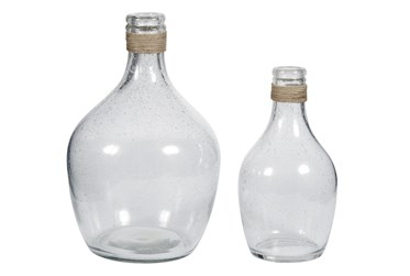 Clear Glass + Rope 2 Pc Vase Set