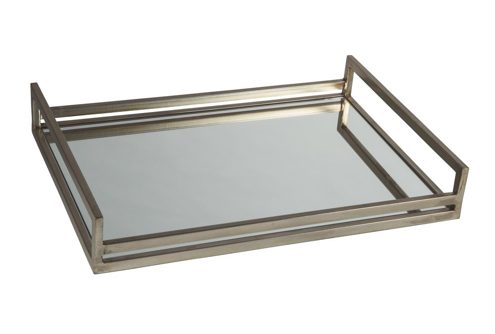 Silver Finish Metal + Mirrored Tray