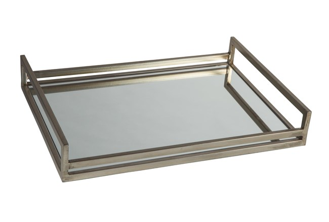 Silver Finish Metal + Mirrored Tray - 360