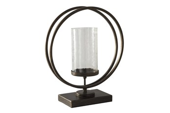 Black Gold Finish Metal + Glass Candleholder