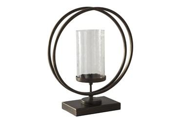 Black Gold Finish Metal + Glass Candleholder