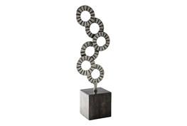 Black and Silver Aluminum Wood Sculpture