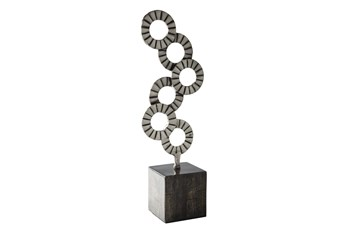 Black + Silver Aluminum Wood Sculpture