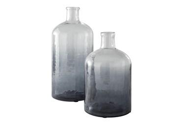 Navy Glass 2 Pc Vase Set