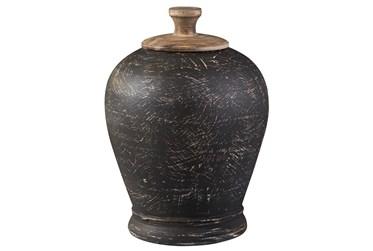 Black Terracotta + Metal Medium Jar