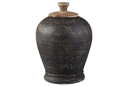 Black Terracotta + Metal Medium Jar - Main