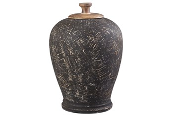Black Terracotta + Metal Large Jar