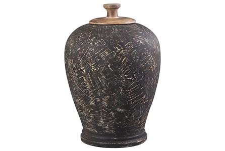 Black Terracotta + Metal Large Jar - Main