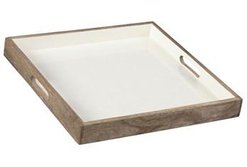White Enamel + Wood Tray