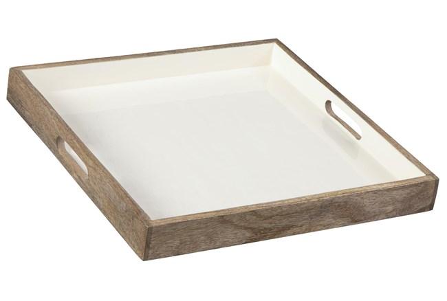 White Enamel + Wood Tray - 360