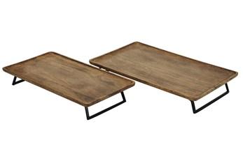 Brown Black Wood + Metal 2 Pc Tray Set