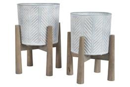 """Antique Wood + Metal 2 Pc 19"""" Planter Set"""