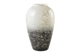 White + Gray Medium Glass Vase