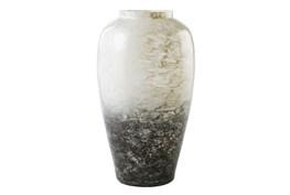 White + Gray Large Glass Vase