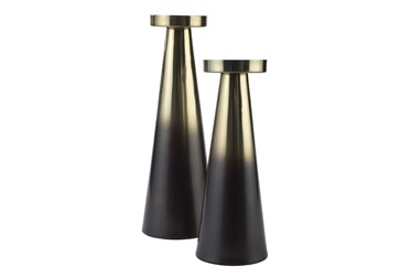 Brown + Gold Finish Metal 2 Pc Candle Holder Set