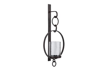 Brown Metal + Glass Candle Holder Wall Sconce