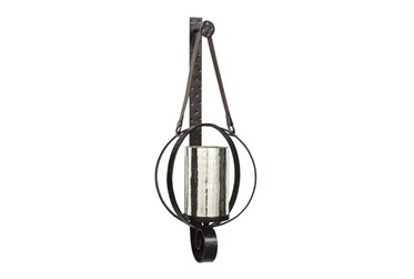 Round Brown Metal + Glass Candle Holder Wall Sconce