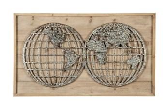 Wood + Metal Global Map Wall Decor