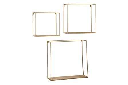 Brown + Gold 3 Pc Wall Shelf Set - Main