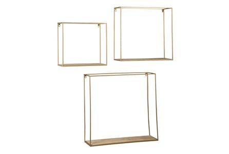 Brown + Gold 3 Pc Wall Shelf Set - Main