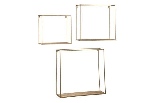 Brown + Gold 3 Pc Wall Shelf Set - 360