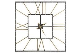 Square Black + Gold Wall Clock